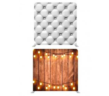 8ft*8ft White Chesterfield and Rustic Wood with Fairy Lights Backdrop, With or Without Tension Frame