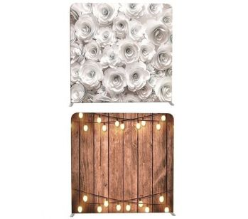 8ft*7.5ft White Roses and Rustic Wood with Lights Backdrop, With or Without Tension Frame