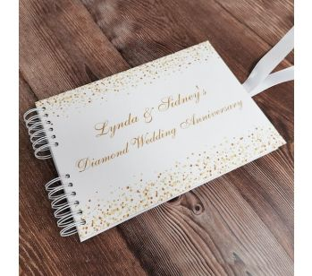 Personalised White & Gold Glitter Ombre Guestbook with Different Page Style Options