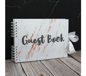Good Size White Marble Guestbook With Black 'Guest Book' Message with Slip-in Pages