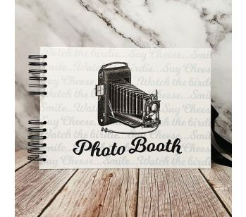 Good Size, White Photo Booth Style Guestbook with Slip-in Pages