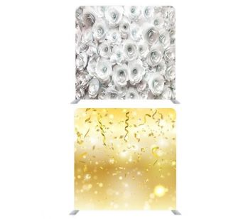 8ft*8ft White Roses and Gold Glitter with Party Streamers Backdrop, With or Without Tension Frame